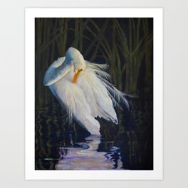 Great Egret at the Pond Art Print