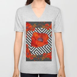 AWESOME GREY GRAPHIC ART YELLOW-RED POPPIES GARDEN Unisex V-Neck