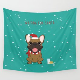 French Bulldog Waiting for Santa - Fawn edition Wall Tapestry