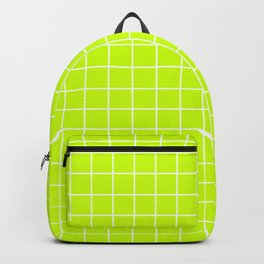 Electric lime - green color - White Lines Grid Pattern Backpack