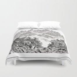 BEYOND MOUNT SHUKSAN BLACK AND WHITE VINTAGE PEN DRAWING Duvet Cover