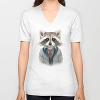 raccoon V-neck T-shirts featuring Raccoon by Leslie Evans