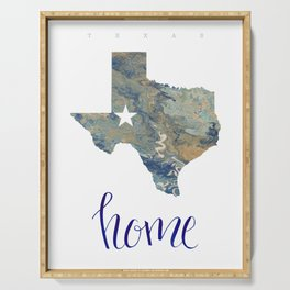Is Texas Your Home, state of Texas, home typography Serving Tray