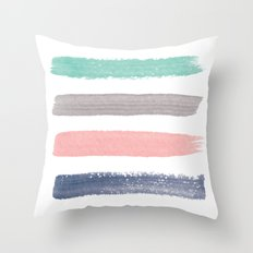 Colored Watercolor Brush Strokes Throw Pillow