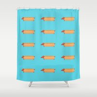 hot dog Shower Curtains featuring Hot Dog by Freakin' Monsters
