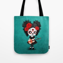 Day of the Dead Girl Playing English Flag Guitar Tote Bag