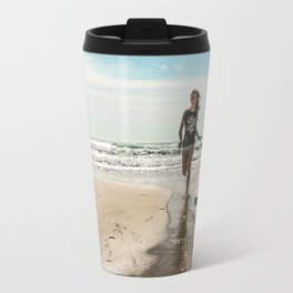 Vintage photo beach girl Travel Mug