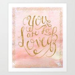 So Loved Baby Girl Nursery Print GOLD Art Print