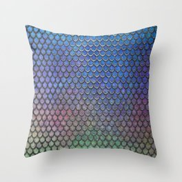 Colorful Silver II Mermaid Scales Throw Pillow