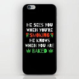 Weed and Cannabis Smoking 420 Marijuana Christmas  iPhone Skin