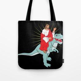 Jesus Riding A Dinosaurs Rex Gift Tote Bag