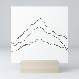 Tallest Mountains in the World B&W / Mt Everest K2 Kanchenjunga / Minimalist Line Drawing Art Print Mini Art Print