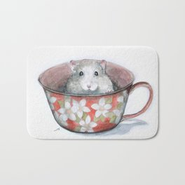Rat in a cup Bath Mat