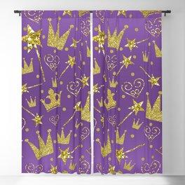 Purple & Gold Glitter Princess Blackout Curtain