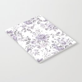 FLORAL VINTAGE ROSES MAUVE WHITE Notebook