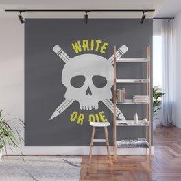 Write or Die -  Skull and Pencil Bones Wall Mural