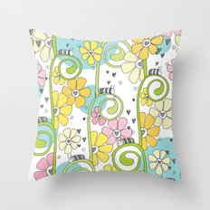 Hanging Out In The Garden With My Friends Throw Pillow
