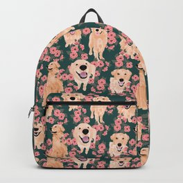 Golden Retriever and flowers on green Backpack
