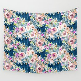 NAVY SO LUSCIOUS Colorful Watercolor Floral Wall Tapestry