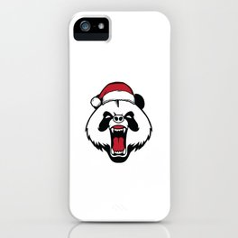 Bah Humbug Angry Panda With Santa Hat Grumpy Grouch Humor Pun Cool Gift Design iPhone Case