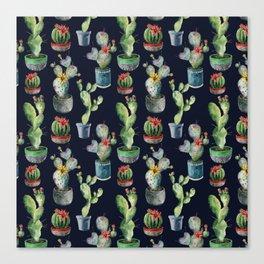 Flowering cactuses. Watercolor Canvas Print