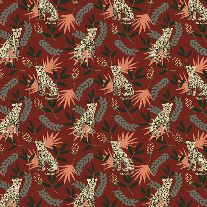 Leopard. Tropical red pattern Comforters