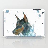 doberman iPad Cases featuring Blue Doberman by Parmelyn