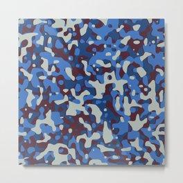 Blue & Burgandy Camo Pattern Metal Print