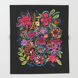 Meadow on black Throw Blanket