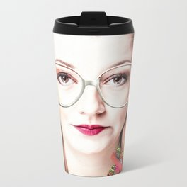blonde with glasses Metal Travel Mug