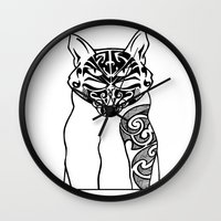 maori Wall Clocks featuring Maori Kitty by Sofy Rahman
