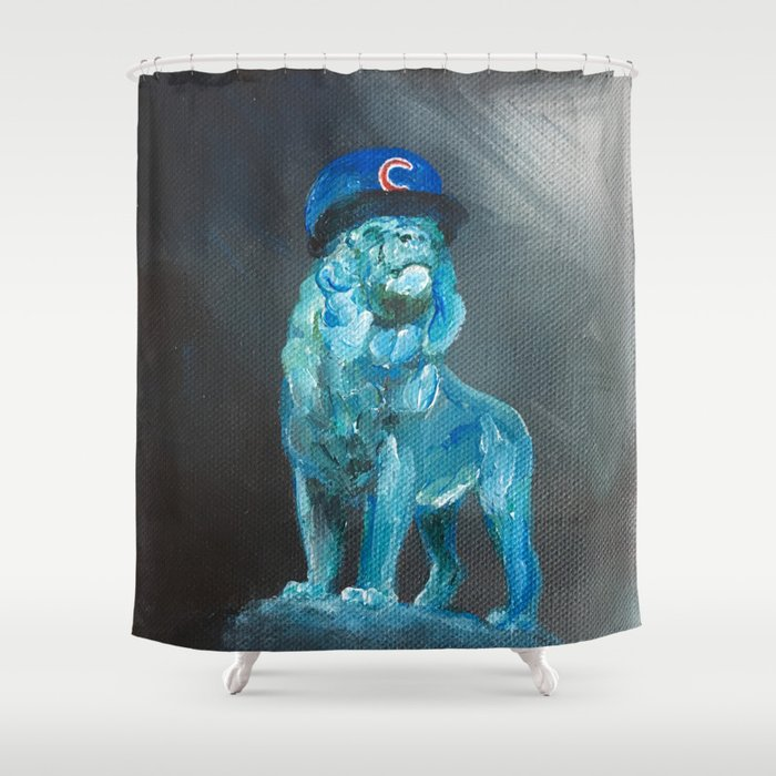 Art Institute Lion Wears Cubs Hat Shower Curtain