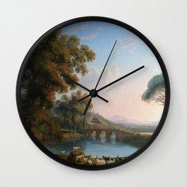 Italian River Landscape by Jakob Philipp Hackert Wall Clock