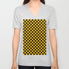 Black and Amber Orange Checkerboard Unisex V-Neck