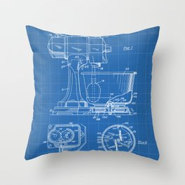 Kitchen Mixer Patent - Chef Food Mixer Art - Blueprint Throw Pillow
