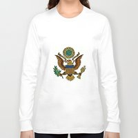 patriotic Long Sleeve T-shirts featuring Patriotic Eagle by manderjack