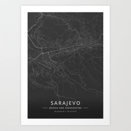 Sarajevo, Bosnia and Herzegovina - Dark Map Art Print