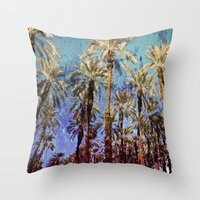 palm trees Throw Pillows featuring Palm Trees by Loveurstyle