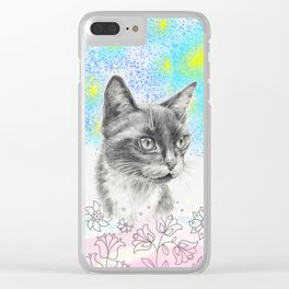 Secret garden - Cat portrait Clear iPhone Case