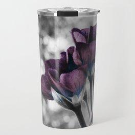 Pop of Color Flowers Muted Eggplant Teal Travel Mug