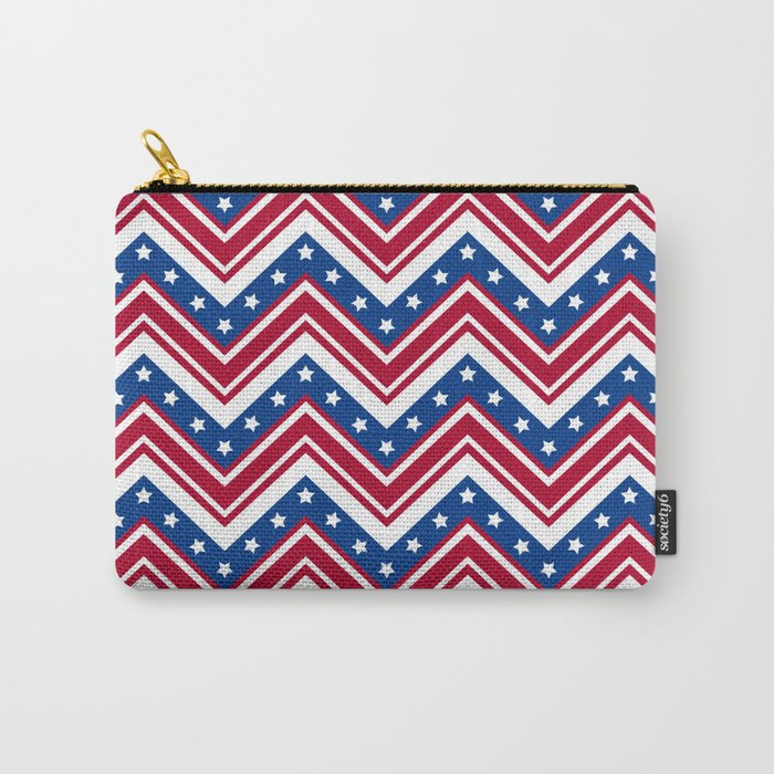 Studio Dalio - Red White and Blue Zigzag Stripes Zippered Pouch