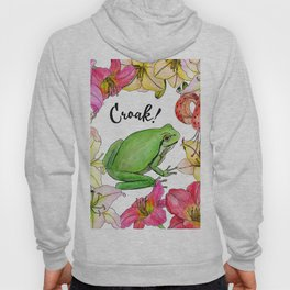 watercolor frog with lilies Hoody