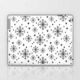 Snowflakes winter christmas minimal holiday black and white decor gifts Laptop & iPad Skin