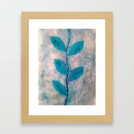 Encaustic Blue Leaves Framed Art Print