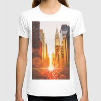 skyline T-shirts featuring NYC Skyline Sunset by Vivienne Gucwa