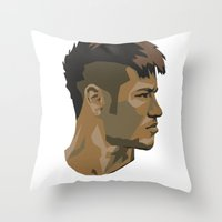 neymar Throw Pillows featuring Neymar by The World Cup Draw