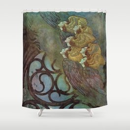 """""""The Bells"""" Fairy Tale Art by Edmund Dulac Shower Curtain"""