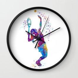 Girl Tennis Watercolor Art Print Sports Nursery Home Decor Kids Room Sports Painting Gifts Wall Clock