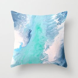 Blue Fluid Painting Waves Fluid Acrylic Abstract Throw Pillow