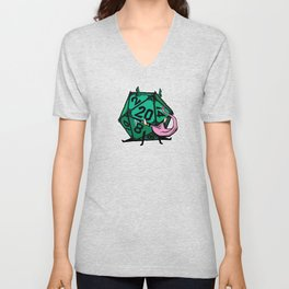 D20 dice mimic pup in green Unisex V-Neck